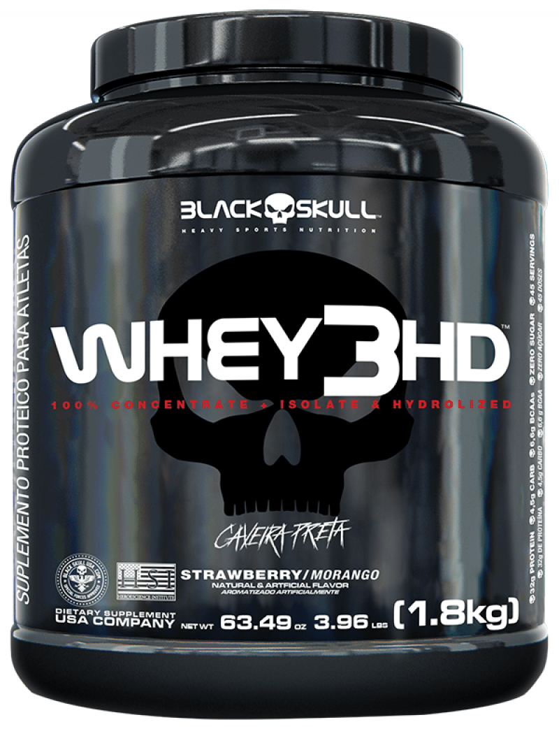 Whey 3 HD Morango 1.800Kg Caveira Preta- Black Skull