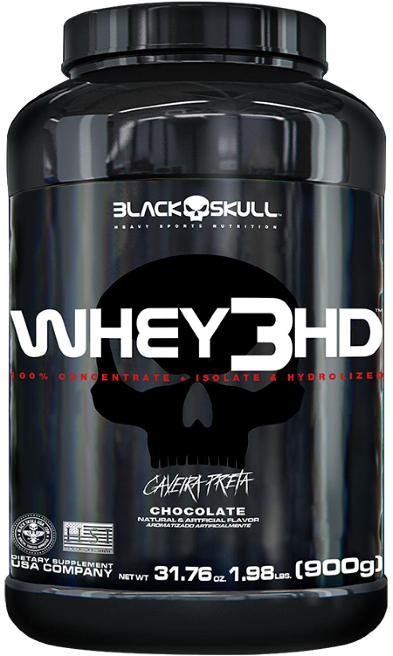 Whey 3 HD - Chocolate 900G Caveira Preta- Black Skull