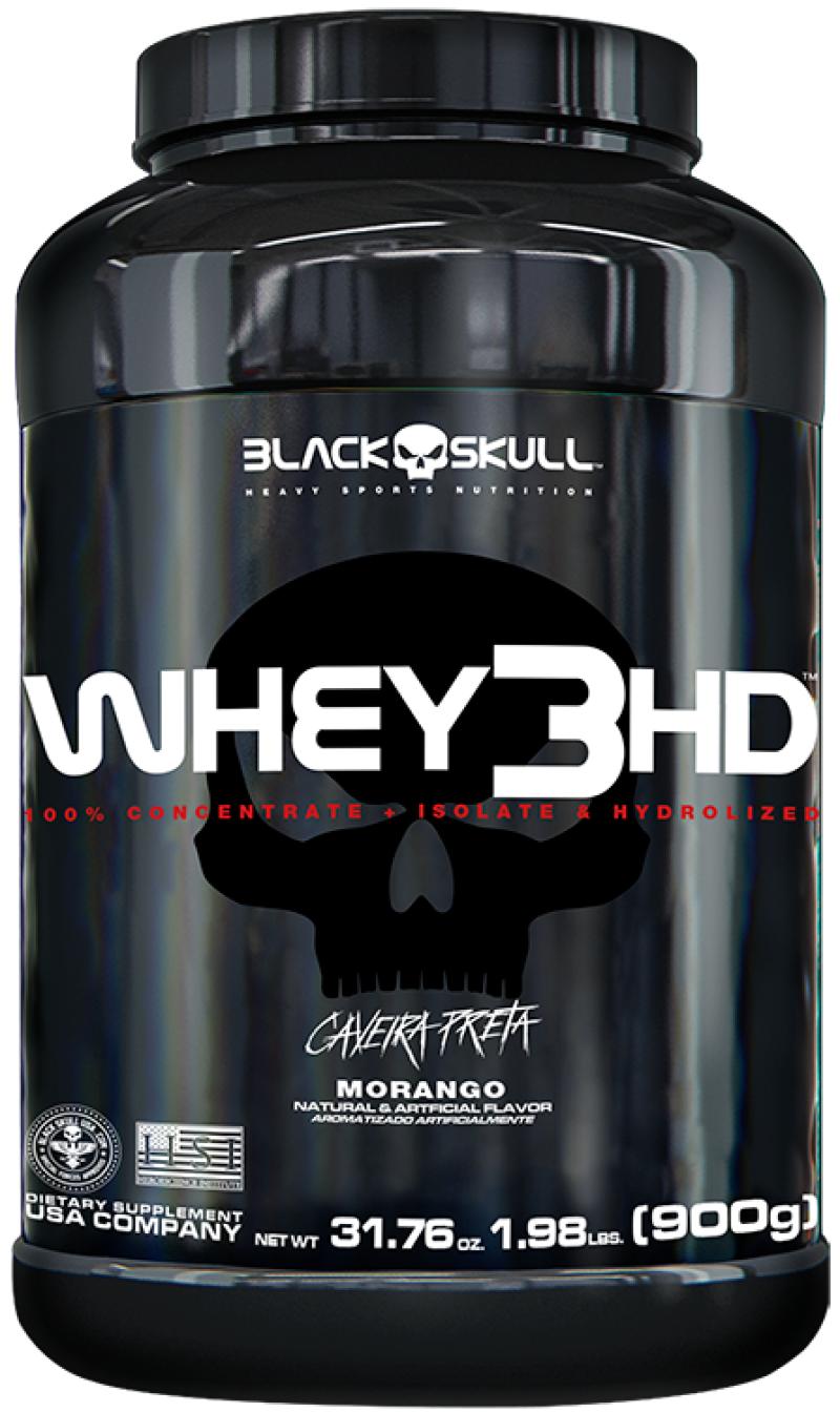 Whey 3 HD Morango 900G Caveira Preta- Black Skull
