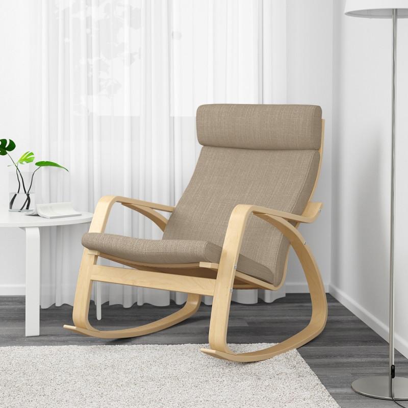Cadeira de Balanço de Madeira e Almofada Bege em Linho