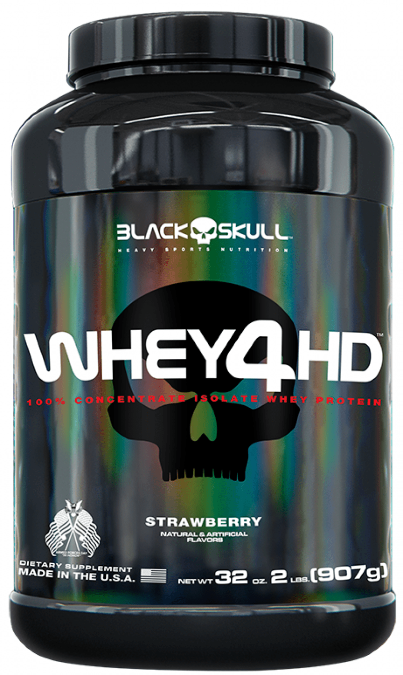 Whey 4 HD Morango 907g Black Skull