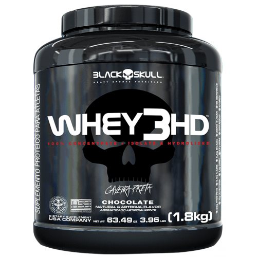 Whey 3 HD Chocolate 1.800Kg Caveira Preta- Black Skull